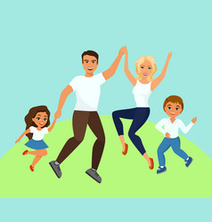 joyful family jumping vector image