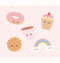 Kawaii dessert donut cookie cupcake coffee cup vector