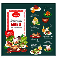 Korean asian food desserts and menu courses vector