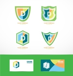 Letter d shield logo icon set vector