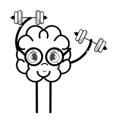 Line icon adorable kawaii brain doing exercise vector