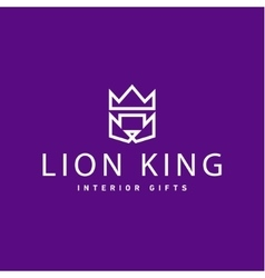 Lion crown as King trend logo gifts flat style art vector image