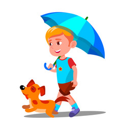 little boy walking a dog under umbrella in the vector image