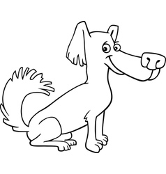 little shaggy dog cartoon for coloring book vector image