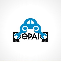 logo with spanner and car vector image