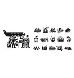 migrant icon set simple style vector image