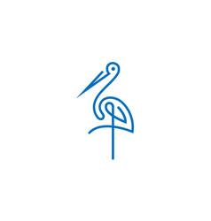 Minimalist crane logo standing on one leg vector