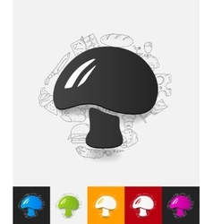 Mushroom paper sticker with hand drawn elements vector