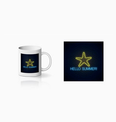 Neon summer print with sea star symbol for cup vector
