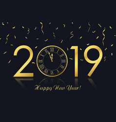 New year 2018 with clock vector
