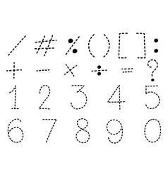 Number one to zero and math signs vector