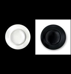On a contrasting background white and black round vector