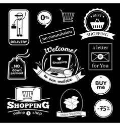 Online shopping signs set vector image