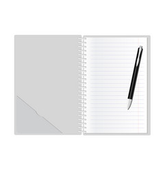Open note pad with pen blank pages vector