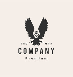 Owl king hipster vintage logo icon vector