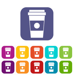 Paper cup of coffee icons set vector