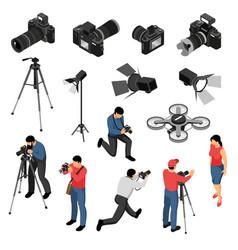 Photographer isometric set vector