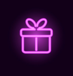pink neon gift box realistic neon sign vector image