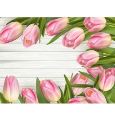 Pink Tulips over wooden table EPS 10 vector