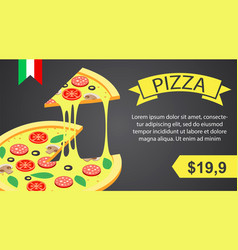 pizza banner horizontal isometric style vector image