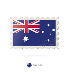 Postage stamp with image australia flag vector