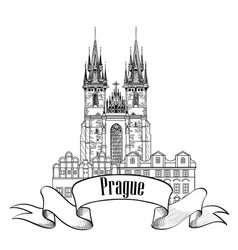 Prague city sign famous landmark tyn cathedral vector