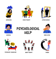 Psychological help set hand drawn icons on vector