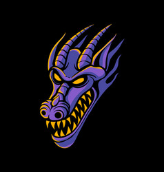 purple dragon head logo design vector image