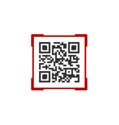 Qr code with red frame label contains product vector