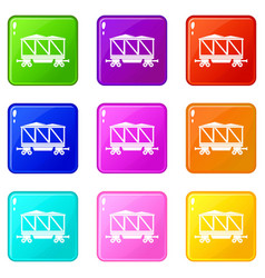 Railway wagon icons 9 set vector