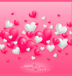 Realistic floating 3d valentine hearts background vector