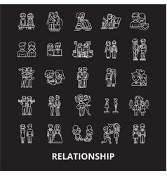 relationship editable line icons set on vector image