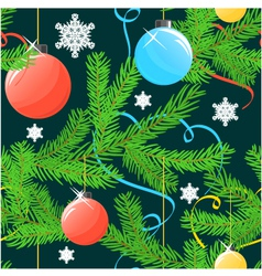 Seamless Christmas background with tree and balls vector image vector image