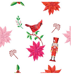 Seamless pattern christmas decoration poinsettia vector