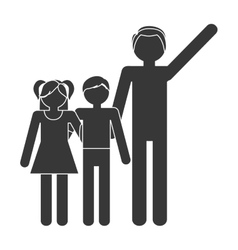 silhouette family father and children lovely vector image