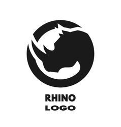 Silhouette of the rhino monochrome logo vector image vector image