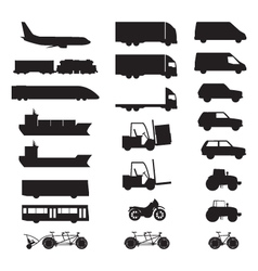 Silhouettes of various vehicles vector image