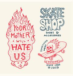 skateboard badges and logo vintage retro template vector image