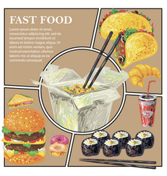 sketch fast food colorful composition vector image