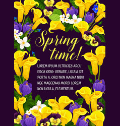 Springtime floral poster of flowers vector