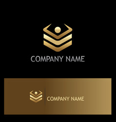 Square level data technology gold logo vector