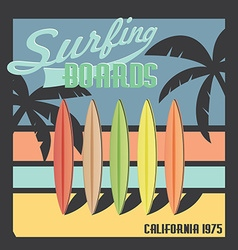 Surfing boards California typography t-shirt vector image