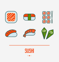 sushi and rolls thin line icons set vector image