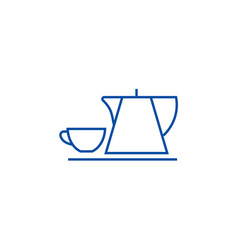 tea cup and kettle line icon concept tea cup and vector image