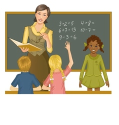 Teacher at blackboard explains children mathematic vector