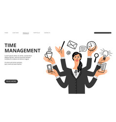 time management landing page vector image