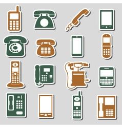 various phone symbols and icons stickers set eps10 vector image