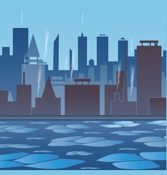 winter in the city city by the river river with vector image