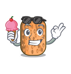 With ice cream fried tempeh in bowl character vector