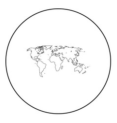 world map black icon in circle outline vector image
